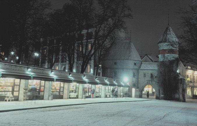 Taken in January 2004, the florists line the street into the Medieval section of Tallinn.